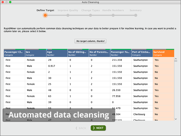 Automated data cleansing