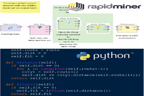 機械学習モデル構築時の Python とRapidMiner の⽐較イメージ